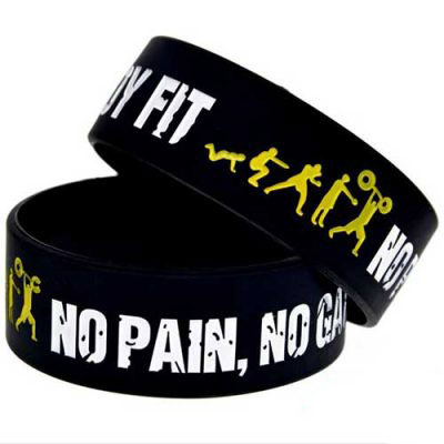 "Vòng tay cao su Gym ""NO PAIN NO GAIN"""